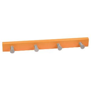 percha 4 pomos aluminio con base laca naranja 989na