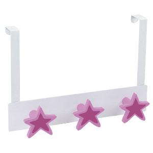 percha sobrepuerta metal blanco con 3 estrellas laca lila 993li