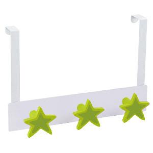 percha sobrepuerta metal blanco con 3 estrellas laca verde 993ve