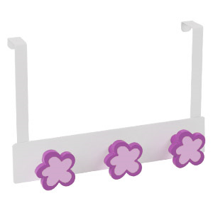overdoor hanger white metal with 3 flowers magenta lacquer 994mg