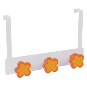 overdoor hanger white metal with 3 flowers orange lacquer 994na