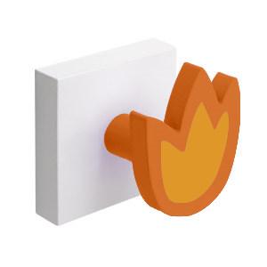 percha pared base blanca con 1 tulipan naranja 995na