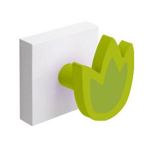 percha pared base blanca con 1 tulipan verde 995ve