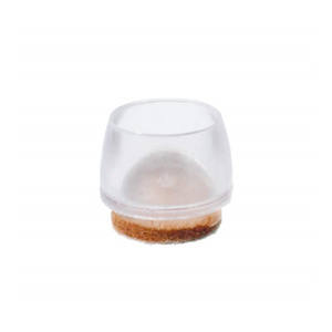 ferrules cap plug 18mm transparent plastic with brown felt for furniture chair legs