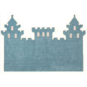 blue child rug castle in washing machine washable cotton cas az image