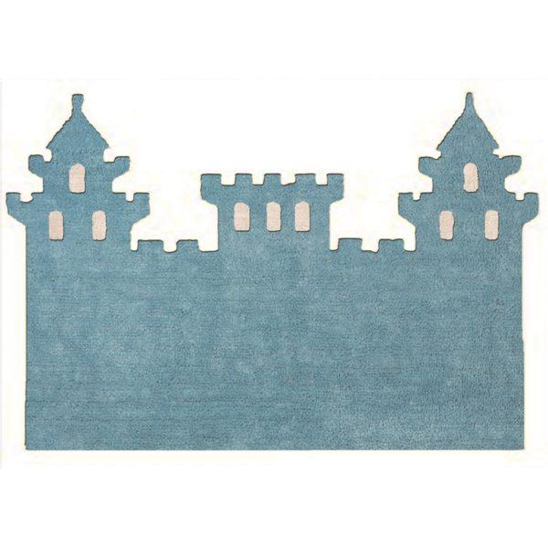 alfombra infantil celeste castillo lavable en lavadora algodon cas az imagen