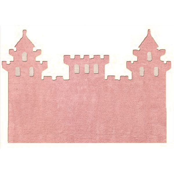 alfombra infantil rosa castillo lavable en lavadora algodon cas rs imagen
