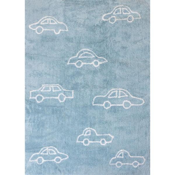 alfombra infantil celeste coches blancos lavable en lavadora algodon co az imagen