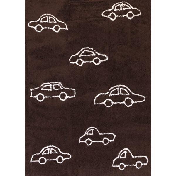 alfombra infantil marron coches blancos lavable en lavadora algodon co ma imagen