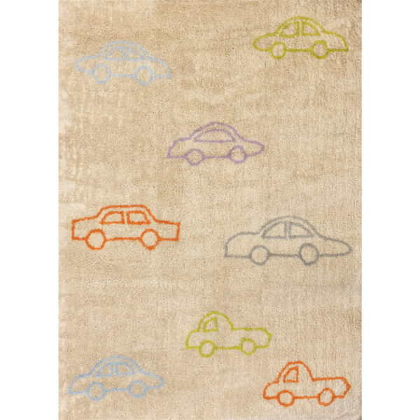 alfombra infantil beige coches colores lavable en lavadora algodon co mul imagen