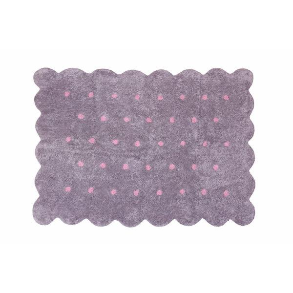 alfombra infantil modelo galleta gris topos rosa lavable en lavadora algodon coo grrs imagen