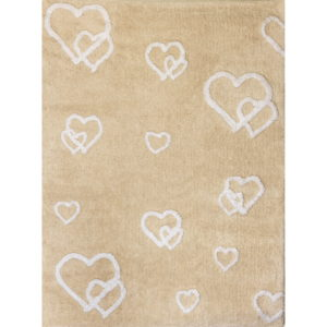 beige child rug hearts in washing machine washable cotton cor be image