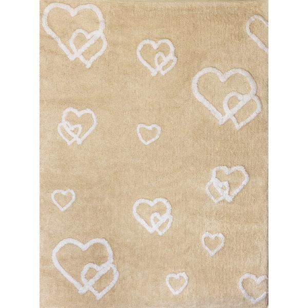 alfombra infantil corazones color beige lavable en lavadora algodon cor be imagen