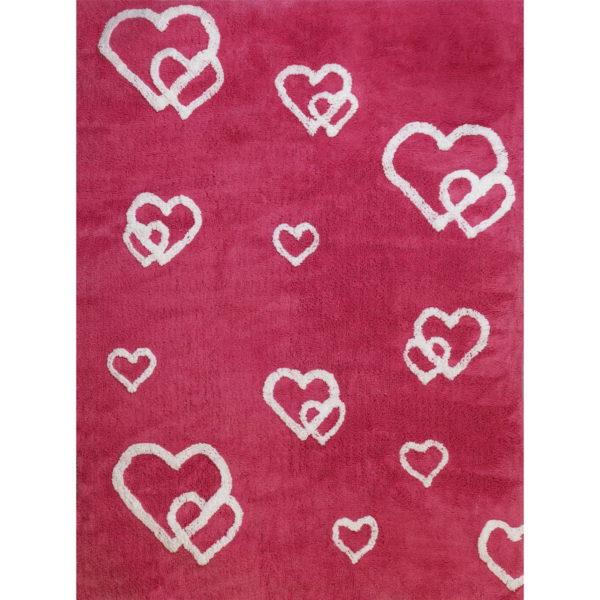 alfombra infantil corazones color magenta lavable en lavadora algodon cor mg imagen