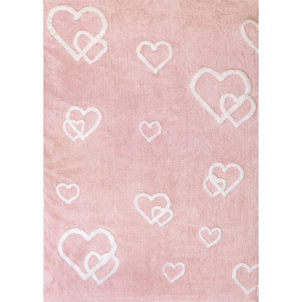 alfombra infantil corazones color rosa lavable en lavadora algodon cor rs imagen