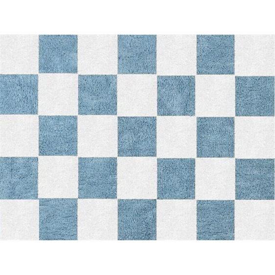 alfombra infantil damero celeste lavable en lavadora algodon dam az imagen