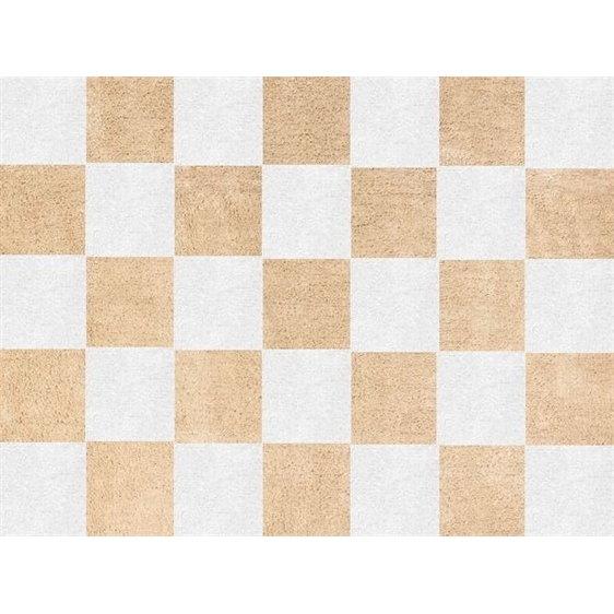 alfombra infantil damero beige lavable en lavadora algodon dam be imagen