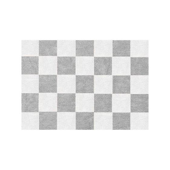 alfombra infantil damero gris lavable en lavadora algodon dam gr imagen