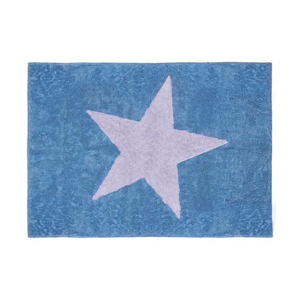 alfombra infantil estrella azul lavable en lavadora algodon e az imagen