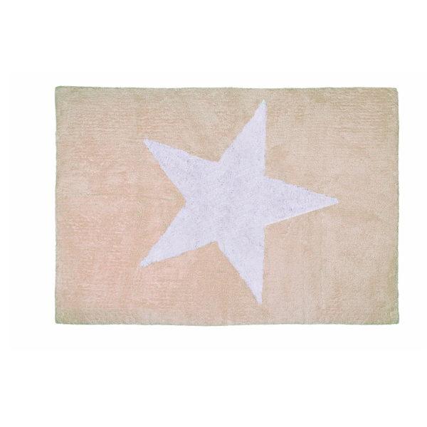 alfombra infantil estrella beige lavable en lavadora algodon e be imagen