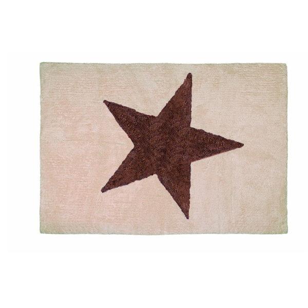 alfombra infantil estrella beige marron lavable en lavadora algodon e ma imagen