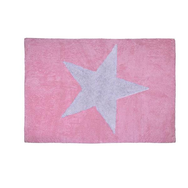 alfombra infantil estrella rosa lavable en lavadora algodon e rs imagen