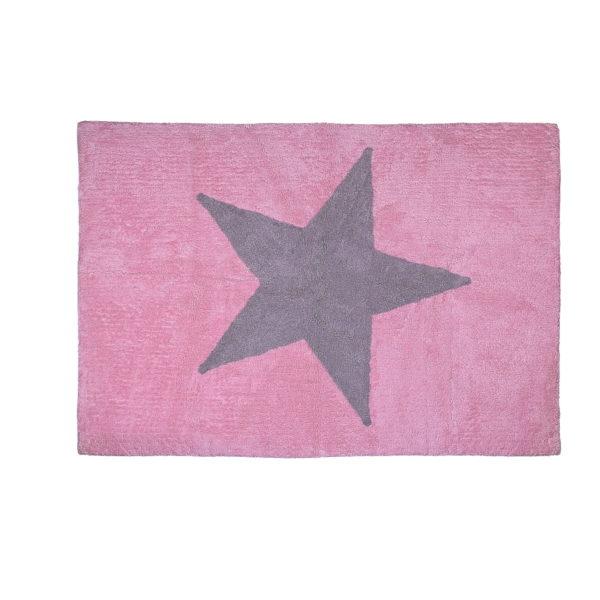 alfombra infantil estrella gris rosa lavable en lavadora algodon e rsgr imagen