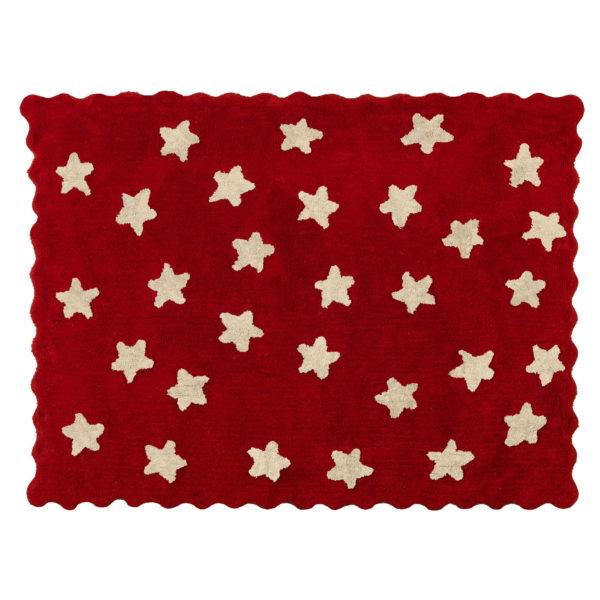 alfombra infantil eden rojo beige lavable en lavadora algodon ed rjbe imagen