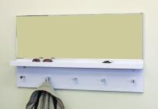 espejo cristal con estante madera lacada blanco para dejar llaves h001b