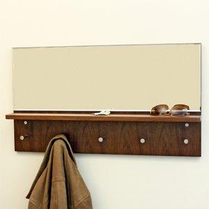 espejo cristal con estante madera nogal para dejar llaves h001n