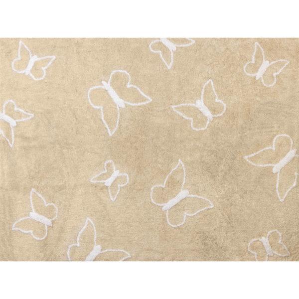 alfombra infantil mariposa beige lavable en lavadora algodon ma be imagen