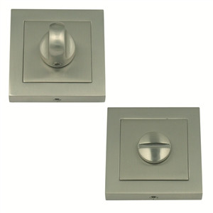 bathroom door thumb turn with release 55mm square rosette satin nickel finish manufactured in zinc alloy mu926
