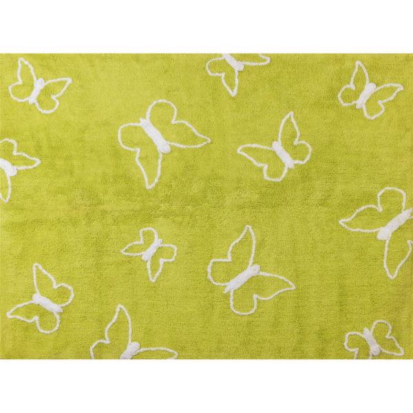 alfombra infantil mariposa pistacho lavable en lavadora algodon ma pi imagen