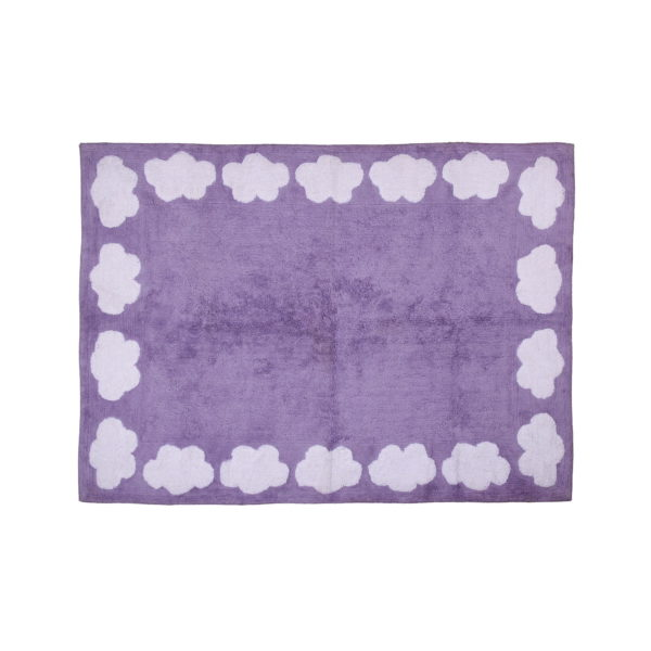 purple cloud child rug in washing machine washable cotton n li image