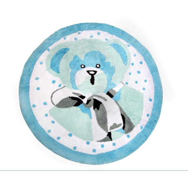 alfombra infantil osito celeste lavable en lavadora algodon o az imagen