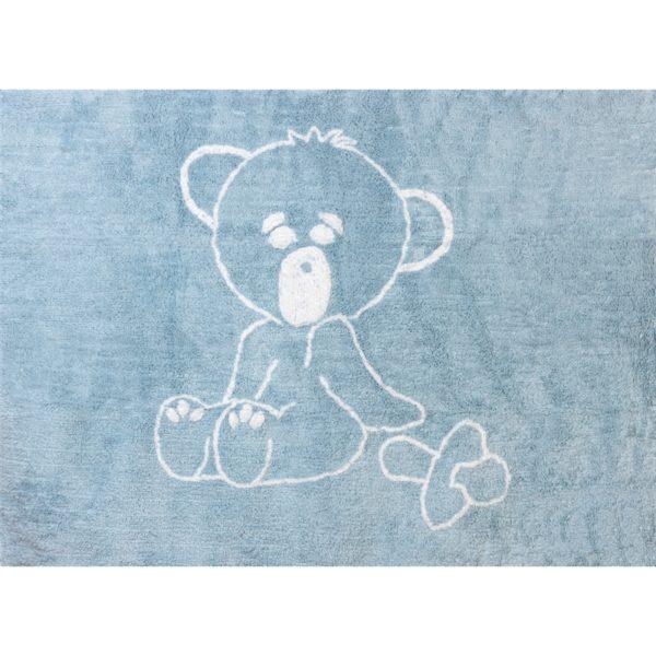 alfombra infantil osito teddy celeste lavable en lavadora algodon ot az imagen