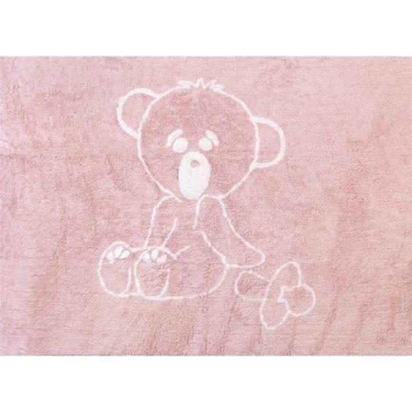 alfombra infantil osito teddy rosa lavable en lavadora algodon ot rs imagen