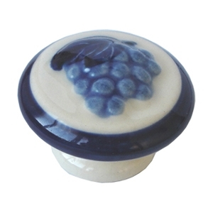 handle knob hand painted porcelain blue grapes p205