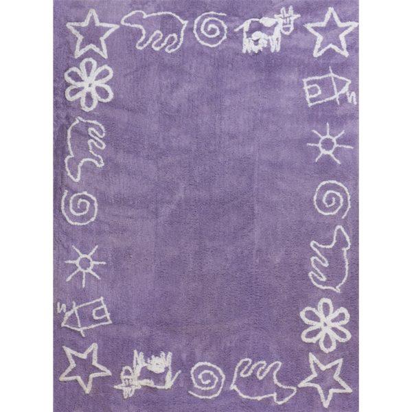 alfombra infantil prado lila lavable en lavadora algodon pra li imagen