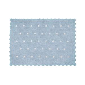 alfombra infantil topitos celeste lavable en lavadora algodon tp az imagen