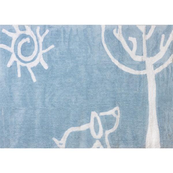 alfombra infantil verano celeste lavable en lavadora algodon ve az imagen