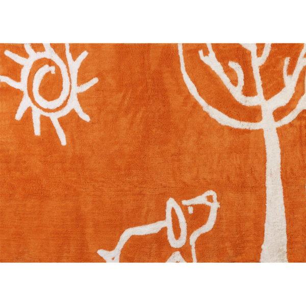 alfombra infantil verano naranja lavable en lavadora algodon ve na imagen