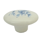 handle knob porcelain with blue flower decal 39x28mm 463p5