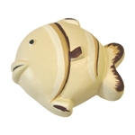 fish handle knob cream brown ceramic 207cr