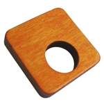 square furniture knob with hole orange dyed wood 425na