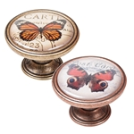 bouton meuble vintage bronze patinee papillon orange 550bb36