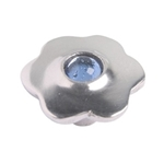 aluminium flower handle knob with blue glass 551az