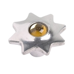 aluminium star handle knob with amber glass 552ab