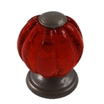 red glas handle knob with antique broze fitting 553rj