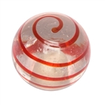 red spiral handle knob handcraft glass 555rj
